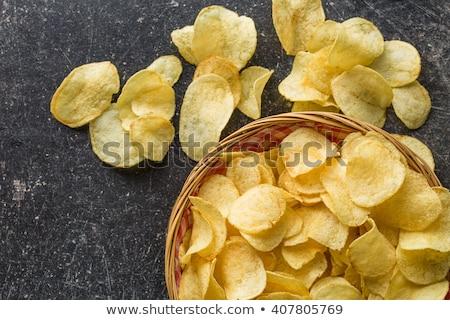 Chips tabel frame vet lunch aardappel Stockfoto © racoolstudio