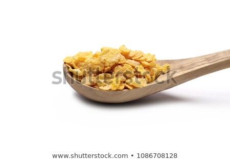 Foto stock: Cuchara · de · madera · desayuno · primer · plano · nutrición · alimentación · saludable