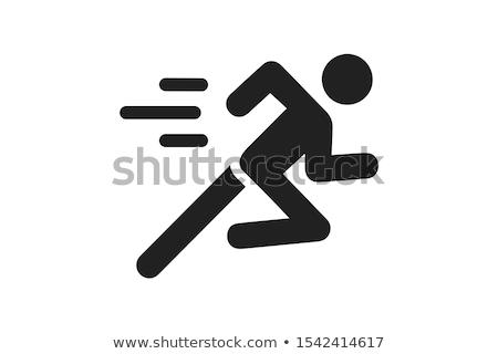 Futó ikon sport test egészség felirat Stock fotó © bokica