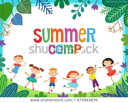 kids summer camp poster or flier with a happy girl stock photo © natalya_zimina