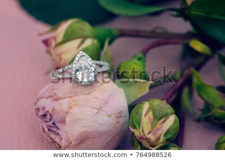 Düğün nişan halkalar çiçekler yalıtılmış beyaz Stok fotoğraf © orensila