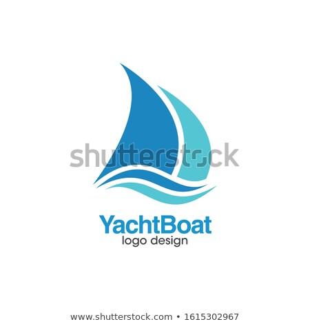 Nyár vitorla csónak ikon felirat logotípus Stock fotó © vector1st