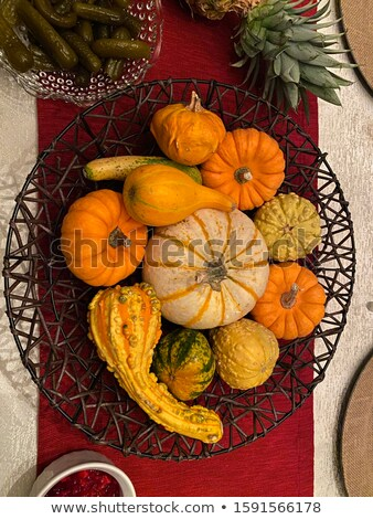 Ornamental fall gourds in a table centerpiece Stock photo © ozgur