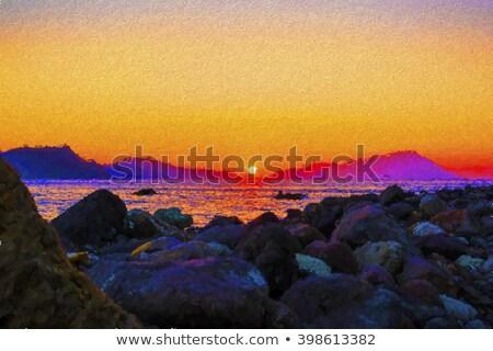 Stock fotó: Festmény · gyönyörű · naplemente · tengerpart · sziget · görög