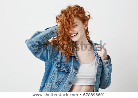 Beautiful young red haired woman with freckles Stock photo © Aikon