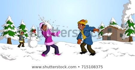 Afrikai lány tél ruházat dob hógolyó Stock fotó © vectorikart