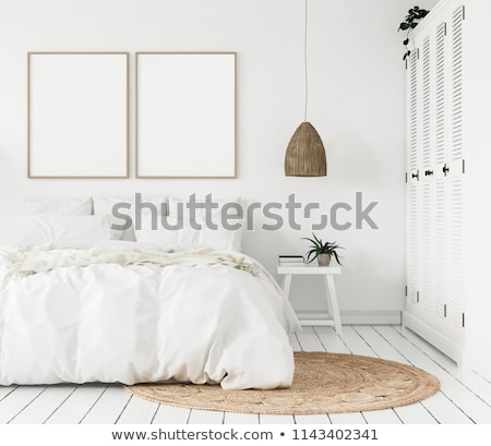 Stock photo: Blank white photo frame with chair. Mock-up render