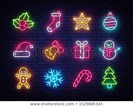 christmas neon snowflakes stock photo © voysla