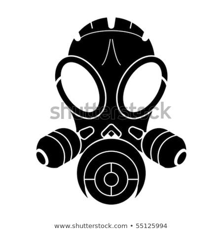 Stockfoto: Gasmasker · stencil · geïsoleerd · witte · vector · gezicht