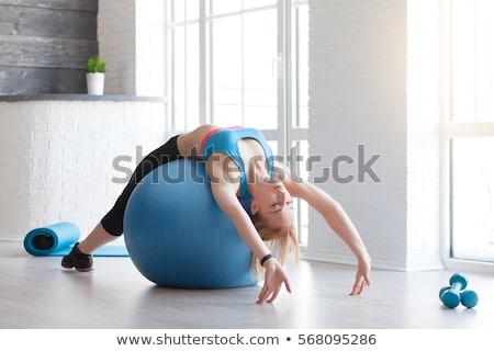 Menina pilates bola ilustração pôr do sol mulher Foto stock © adrenalina