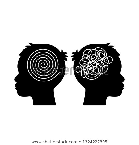 Yin yang and chaos symbol in thinking heads Stock photo © adrian_n