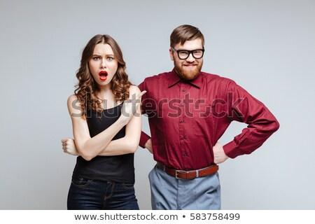 Schockiert männlich nerd funny schauen Stock foto © deandrobot