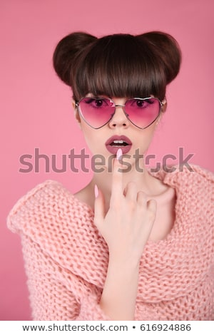Beauty makeup. Fashion teen girl model. Brunette with matte lips Stock photo © Victoria_Andreas