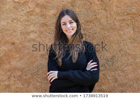 glimlachend · brunette · vrouw · Rood · blouse · armen - stockfoto © deandrobot