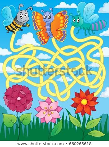 Labirynt 22 pływające owadów kwiat liści Zdjęcia stock © clairev
