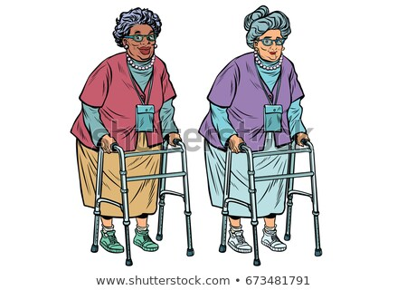 African and Caucasian old ladies with walker Stock photo © studiostoks