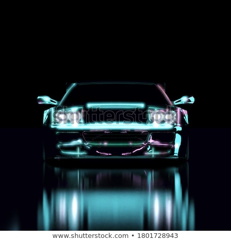 Stock photo: Silhouette of Sports Cars on Reflective Surface