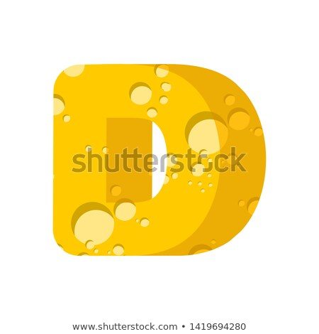 Letter D cheese font. Symbol of cheesy alphabet. Dairy Food type Stock photo © popaukropa