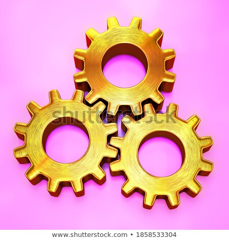 Machinery Production on the Golden Metallic Cogwheels. 3D. Stock photo © tashatuvango