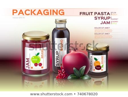 Meyve makarna reçel şurup şişeler yukarı Stok fotoğraf © frimufilms