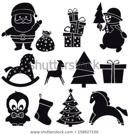silhouette of santa claus baby stock photo © olena