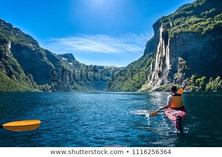 Csónak Norvégia hegyek felhők fa természet Stock fotó © compuinfoto