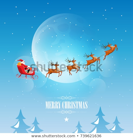 Santa Claus in sleigh reindeer silhouette in background of full moon in night sky. Christmas house i Stock photo © orensila