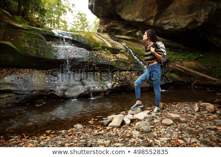 Waterfall landscape. Nature background. Mountains and meadows. N Stock photo © MaryValery