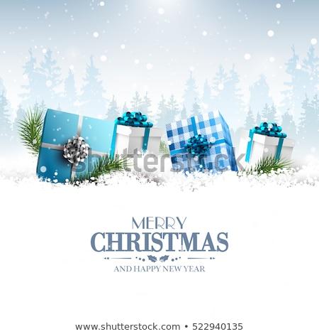 Stock fotó: Karácsony · üdvözlőlap · tél · tájkép · piros · zöld