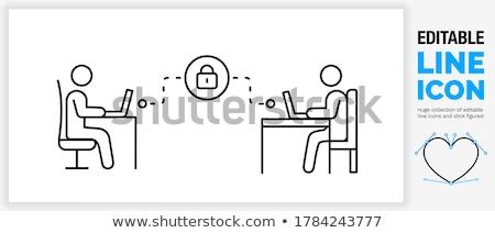 Strichmännchen Laptop Sperre Kennwort Computer Technologie Stock foto © Ustofre9