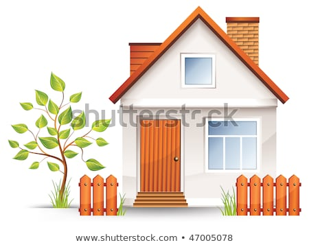 small country house with a wooden fence vector illustration Stock photo © konturvid
