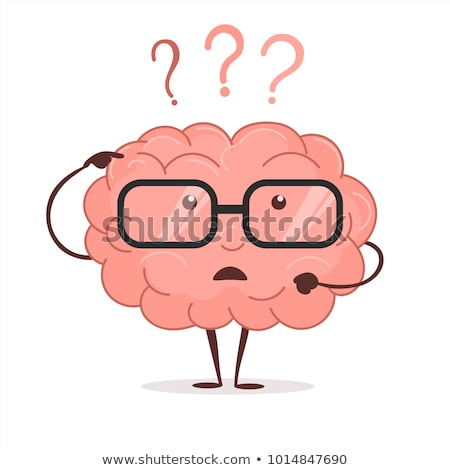 brain cartoon with questions and glasses human intellect thinks brainstorming vector stock photo © andrei_