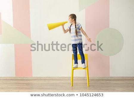 Kid meisje shout illustratie meisje Stockfoto © lenm
