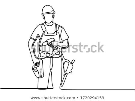 Foto stock: Handyman · capacete · retrato · trabalhador · isolado · cinza