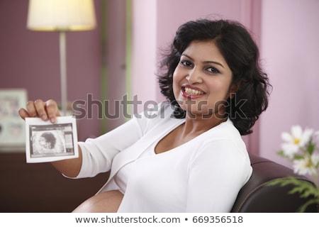 hamile · kadın · genç · yeni · anne · mutlu · ev - stok fotoğraf © monkey_business