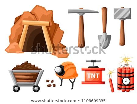 pickaxe mining tool vector cartoon illustration stock photo © rastudio