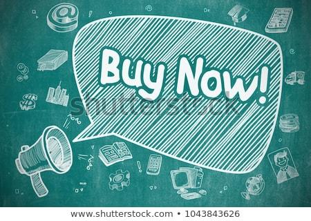 Kup teraz cartoon ilustracja niebieski Tablica dymka Zdjęcia stock © tashatuvango