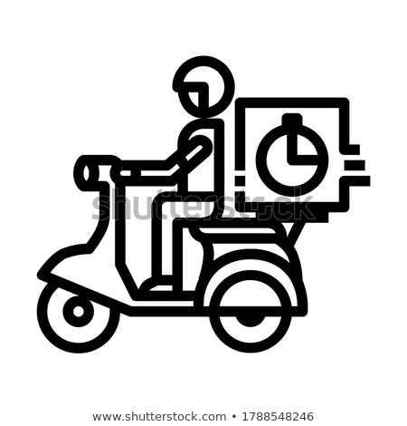 fast food delivery poster with courier on bicycle stock photo © studioworkstock