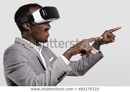 Zakenman wijzend vinger virtueel realiteit bril Stockfoto © wavebreak_media