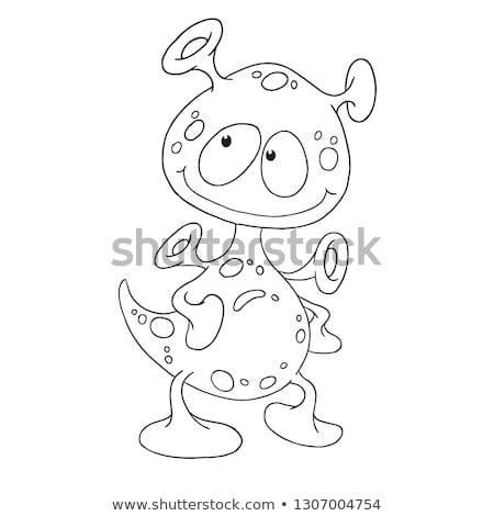 Alien coloring book. Humanoid space alien. Vector illustration. Stock photo © popaukropa