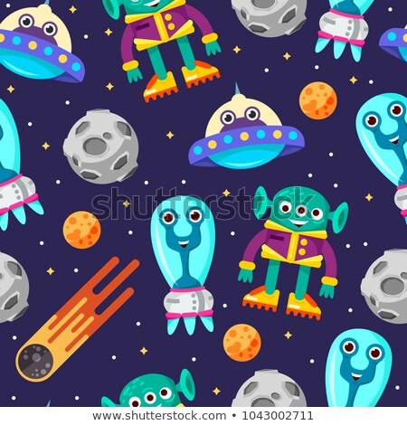 Astronaut and humanoid, alien. Seamless pattern, ornament. Vecto Stock photo © popaukropa