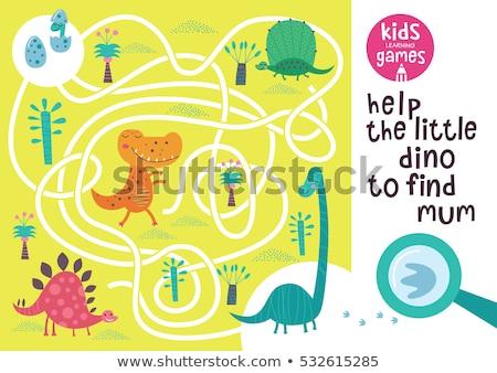 Crianças ilustração quebra-cabeça desenho animado dinossauro Foto stock © Natali_Brill