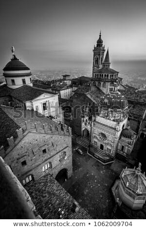 bell tower Bergamo medieval town - black and white image Stock photo © umbertoleporini