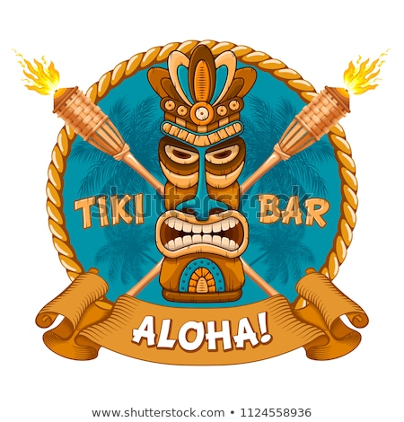 banner with tiki ethnic traditional tribal mask stock photo © loopall