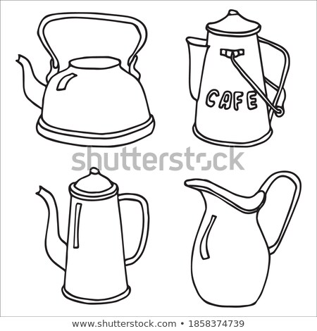 Ceramic white jug with red handle Stock photo © Melnyk