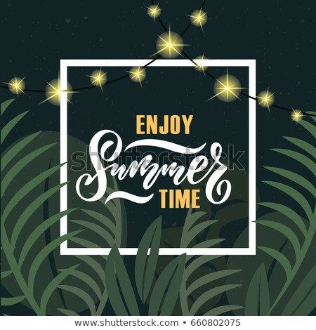 vector enjoy the summer holiday typographic illustration on white badge and tropical plants backgrou stock photo © articular