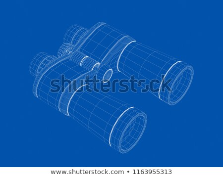 3d wire frame model of binoculars stock photo © magraphics