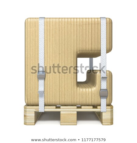 Cardboard box font Letter G on wooden pallet 3D Stock photo © djmilic