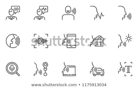Voz pesquisar microfone ícone casa ajudar Foto stock © AisberG