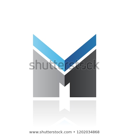 Blue and Black Letter M with a Thick Stripe and Reflection Vecto Stock photo © cidepix